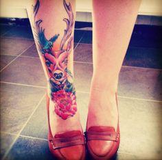 Deer Man n Flower Tattoo Design