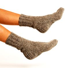 "SOCKS ""Touring back roads""  Hand knitted from natural grey wool yarn"