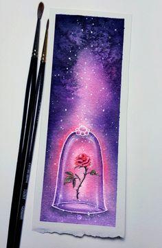 Enchanted rose watercolor painting - Mara E. - Enchanted rose watercolor painting – Enchanted rose watercolor painting - Mara E. Watercolor Bookmarks, Watercolor Disney, Watercolor Rose, Art Drawings Sketches, Disney Drawings, Cute Drawings, Painting & Drawing, Watercolor Paintings, Acrylic Paintings