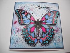 Another Butterfly.  Stamp from Crafters Companion - Flutterby Collection.  Die included for part of wings.