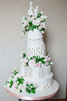 Rose Wedding Cake ~ hand painted and all edible