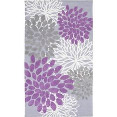 2' x 3' Fashion Flowers Gray, Ivory, Lavender and Orchid Super Soft Throw Rug