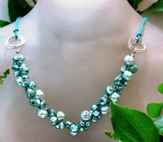Blue Necklace beaded crystals beads on a cotton by Bluenoemi, $75.00