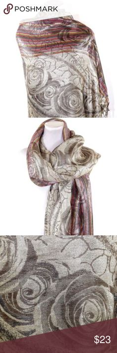 "B27 Pashmina Silk Metallic Gold Dress Shawl Scarf ‼️ PRICE FIRM UNLESS BUNDLED WITH OTHER ITEMS FROM MY CLOSET ‼️    Dress Shawl  Beautiful and luxurious Pashmina shawl. Metallic design.  Metallic.  Reversible. Dress up the most basic outfit year round.  55% Pashmina, 45% silk.  76"" long, 28"" wide.    Please check my closet for thousands more items including jewelry & designer clothing items. Accessories Scarves & Wraps"