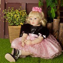 "22"" Reborn Baby Doll Girl Newborn Lifelike Realistic Baby Doll Gifts Soft Vinyl Cute Girl In Pink Dress Baby Doll Birthday Gift(China)"