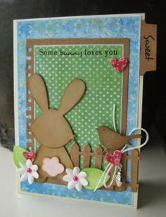 Card made by DT member Boukje with among others Collectables Eline's tab with text - NL and Bunny from Marianne Design Baby Cards, Kids Cards, Scrapbook Cards, Scrapbooking, Marianne Design Cards, Paper Divas, Some Bunny Loves You, Kids Birthday Cards, Die Cut Cards