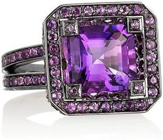 SolangeAzagury-Partridge Cup 18-karat blackened white gold amethyst ring