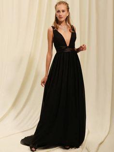 A-line Chiffon Deep V-Neck Silk-Like Satin Wasitband Chapel Train Dresses 2011 under 200