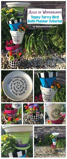 DIY Alice in Wonderland Topsy Turvy Bird Bath Planter Tutorial by SometimesCrafty.com