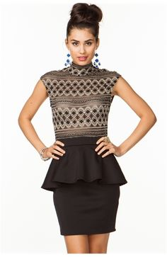 Baroque Lace Peplum Dress
