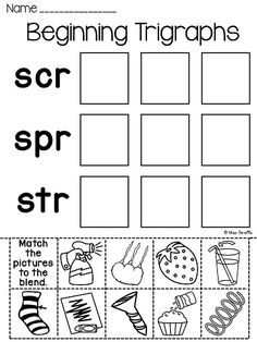 Worksheets 3 Letter Blends Worksheets 3 letter blends trigraphs worksheets activities no prep prep