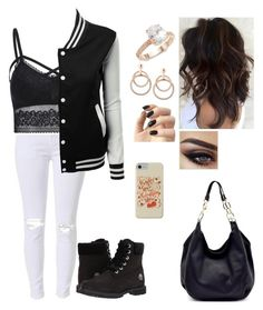 Going on a date by savannaht on Polyvore featuring polyvore Timberland Saks Fifth Avenue Incoco fashion style clothing