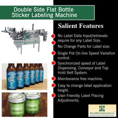 Double Side Flat Bottle Sticker Labeling Machine - http://www.harsiddhengineering.com/double-side-flat-bottle-sticker-labeling-machine/