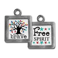 "Two sided charm or pendant with ""brave"" and ""free spirit"". Vintage collage art with a tree of life. Wear alone or combine with more charms to create an individualized gift for your best friend! Each charm has a clip at the top that will easily attach to any of our necklace or bracelet chains! $9.99 by Pick Up Sticks Jewelry"