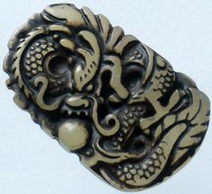 Chinese Old Jade Carved Dragon Playing Pearl Bead (LongXiZhu) Pendant Q822 Gift