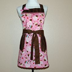 Flirty Cupcake Apron Pretty Pink and Chocolate by AGiftToTreasure