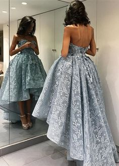 hi-low prom dresses,lace dresses,elegant party dresses with appliqués,vestido