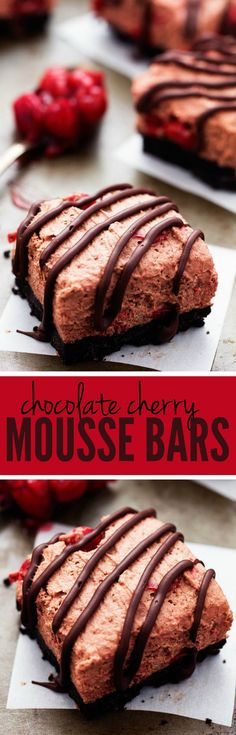 Chocolate Cherry Mousse Bars - Delicious light and fluffy chocolate mouse with hidden cherries busting inside! | therecipecritic.com