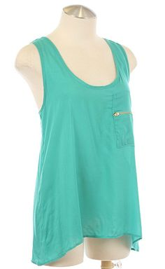 Zipper Tank in Teal