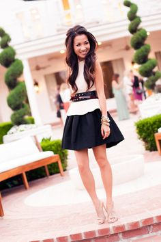 BCBG dinner :: ASOS top, ASOS skirt, BCBG and Phillip Lim belts, Wanderlust + Co clutch, and Stella McCartney sandals