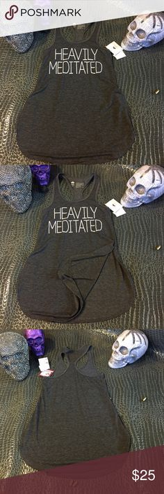 NWT heavily meditated tank top New with tags ! Such a cute yoga tank top , with slits up both sides ! Brand is : peaceful warrior    Please don't ask lowest         . . .       I N S T E A D    . . .      USE THE OFFER BUTTON     please no drama ladies lets be nice           smoke free home       N O   T R A D E S    photos are copyrighted , please do not screenshot and use as your own  lululemon athletica Tops Tank Tops