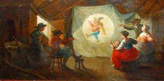 Painting, 1750, depicting the use of a magic lantern, by Jan Anton Garemyn (Flemish, 1712-1799).  SALT REDUX