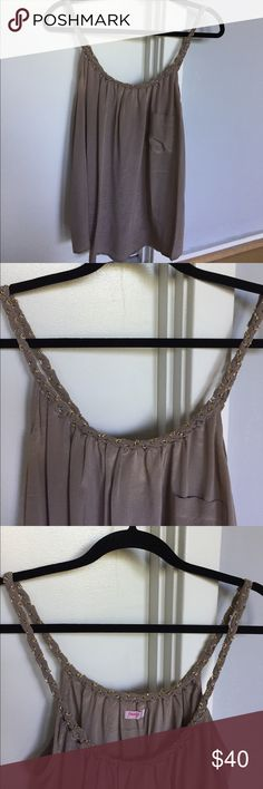 Gray Silk Tank with Gold Chain Detail Straps Gray Silk Tank with Gold Chain Detail Straps, No Signs of Wear Tops Tank Tops