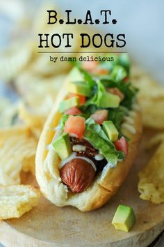 BLAT Hot Dogs - These quick and easy bacon, lettuce, avocado and tomato hot dogs would be perfect as a fast-fix weeknight meal!