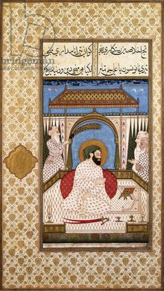 A Sufi Ruler Nimbate Reading a Qur'an on a Terrace, c. 1700 (watercolor, gold, and ink on paper). Deccani?