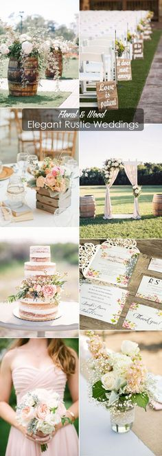 floral and wood simple elegant rustic wedding ideas