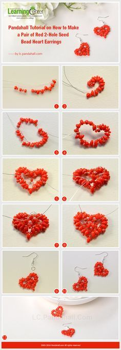 Tutorial on How to Make a Pair of Red 2-Hole Seed Bead Heart Earrings from LC.Pandahall.com