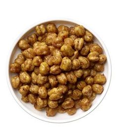 Roasted chickpeas (¼ cup tossed with 1 teaspoon olive oil, cumin, and chili; roasted at 375º F for 35 to 40 minutes): 222 calories, 9g fiber, 10g protein, 8g fat