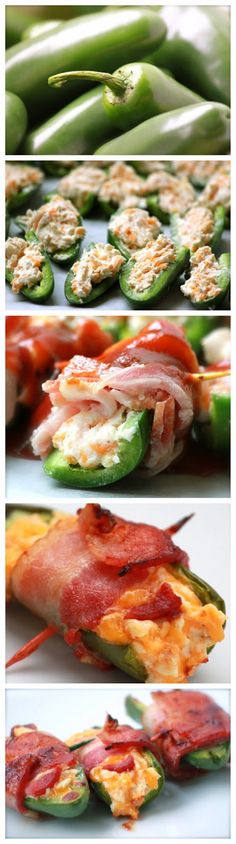 Cheesy BBQ Bacon Jalapenos - These sound sinfully delicious. I Love Food, Good Food, Yummy Food, Stuffed Jalapenos With Bacon, Stuffed Peppers, Grilling Recipes, Cooking Recipes, Appetizer Recipes, Appetizers
