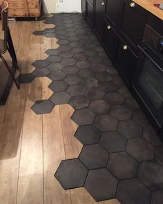 wood tile floor Bodenfliese In Der Kche Wood Design Tile Floor Diy, Diy Tiles, Floor Decor, Transition Flooring, Tile To Wood Transition, Hexagon Tiles, Honeycomb Tile, Kitchen Cabinet Design, Kitchen Designs