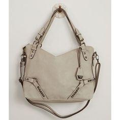 Jessica Simpson Kira Purse ($98) ❤ liked on Polyvore featuring bags, handbags, grey, handbag purse, jessica simpson purses, zipper handbag, studded purse and gray handbags
