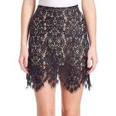 For Love & Lemons Vika Mini Skirt (180 PLN) ❤ liked on Polyvore featuring skirts, mini skirts, lace mini skirt, lacy skirt, long lace skirt, purple skirt and short lace skirt