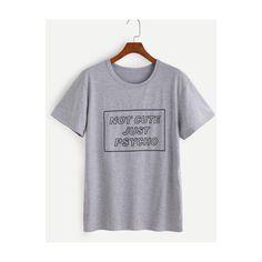 SheIn(sheinside) Grey Slogan Print T-shirt ($9.99) ❤ liked on Polyvore featuring tops, t-shirts, grey, gray t shirt, short sleeve tee, pattern t shirt, print t shirts and short sleeve tops