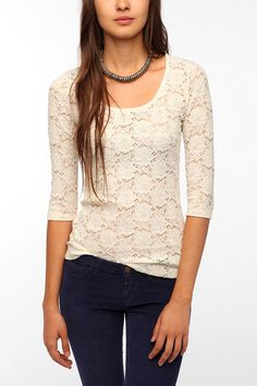 Pins and Needles 3/4 Sleeve Lace Tee New Colors Available /-//-pretty!!