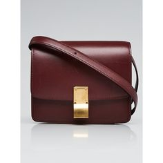 Pre-owned Celine Burgundy Leather Small Box Bag (7,480 SAR) ❤ liked on Polyvore  featuring bags, handbags, shoulder bags, red leather crossbody, ... f32efb1ab5