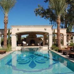 Gunite Pool with Swim Up Bar and PergolaOutdoor Kitchen Dream