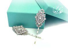 Wedding Hair pin Set of 2 Rhinestone Bridal by PureRainDesigns, $28.00
