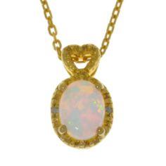 14Kt Yellow Gold Plated Opal & Diamond Oval Heart Pendant by ElizabethJewelryInc on Etsy