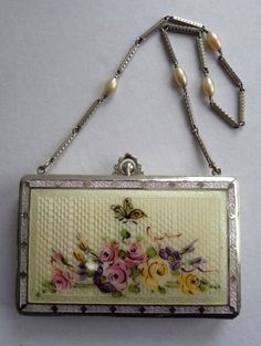 Butterfly Enamel Guilloche Vanity with Pearl Handle Dated 1926 by D. F. Briggs