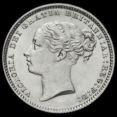 1886 Queen Victoria Young Head Silver Shilling, A/UNC