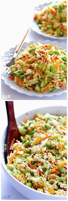 Crunchy Asian Ramen Noodle Salad -- quick and easy to prepare, and always a crowd favorite at a potluck! | gimmesomeoven.com