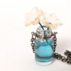 Vase of 2 yellow Flowers Necklace by creativityismessy, $25.00
