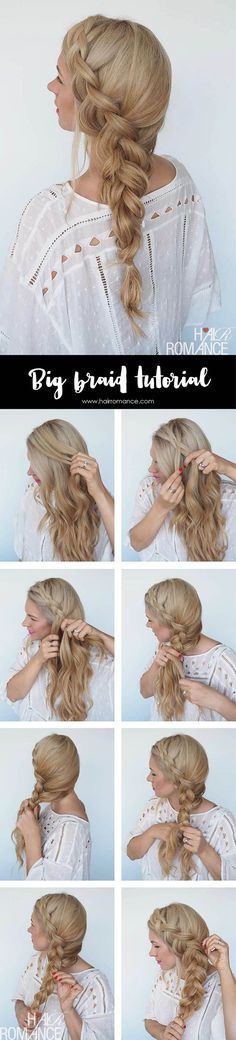 Awesome Best Hair Braiding Tutorials – Big Braid + Instant Mermaid Hair Tutorial – Easy Step by Step Tutorials for Braids – How To Braid Fishtail, French Braids, Flower Crown, Side Braids, Cornr . Try New Hairstyles, Braided Hairstyles Tutorials, Trendy Hairstyles, Wedding Hairstyles, Braid Tutorials, Braid Hairstyles, Ladies Hairstyles, Pixie Hairstyles, Hair Braiding Tutorial