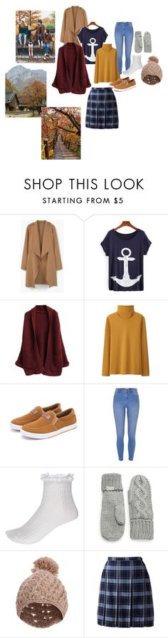 """""""Fall"""" by mandalinaqitrydewi on Polyvore featuring MANGO, Uniqlo, River Island, Rella, Pilot and Lands' End"""