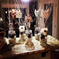 Owl Centerpieces my cousin put together based off an idea I had :)