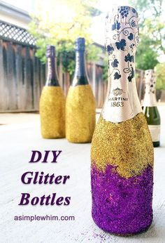 DIY glitter bottles. It shows how to make glitter champagne, but you could do the same thing with any vase, glass, or bottle for centerpieces. There are four other wedding on a budget DIYs, too.